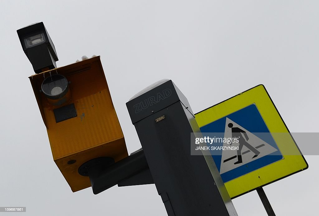 A traffic radar is pictured on the outskirts of the Polish capital Warsaw on January 17, 2013. With Poland's roads being the deadliest in the European Union, authorities are dramatically boosting the number of radars monitoring motorists. The move has drawn the ire of Poles, concerned they will have to pay more traffic fines.