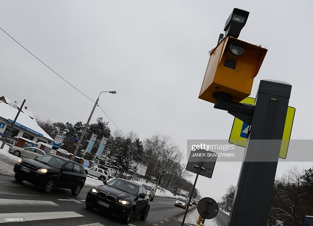 A traffic radar is senn on the outskirts of the Polish capital Warsaw on January 17, 2013. With Poland's roads being the deadliest in the European Union, authorities are dramatically boosting the number of radars monitoring motorists. The move has drawn the ire of Poles, concerned they will have to pay more traffic fines. AFP PHOTO/JANEK SKARZYNSKI