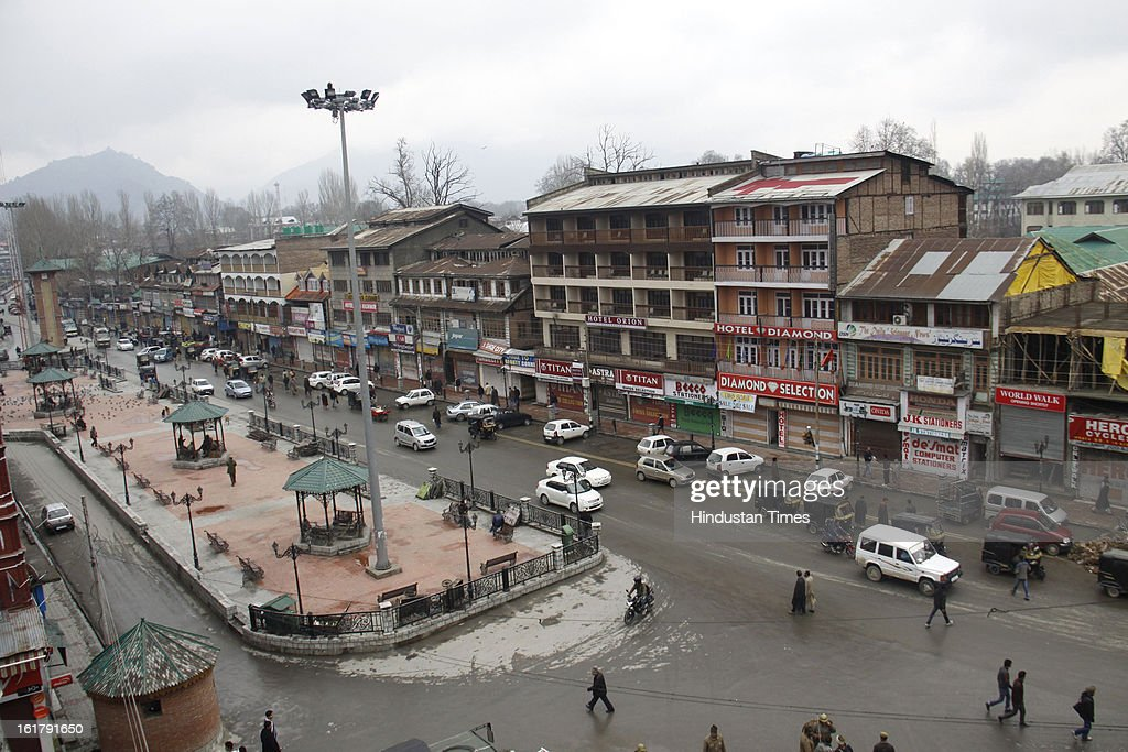 Traffic resumed in Lal Chowk area after 7 day long curfew was lifted, on February 16, 2013 in Srinagar, India.The week-long restrictions have been removed though security forces would continue to monitor the situation as a separatist group has called for a strike for another two days.