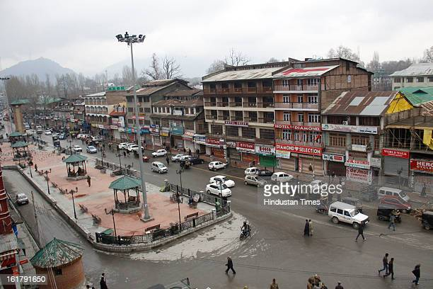 Traffic resumed in Lal Chowk area after 7 day long curfew was lifted on February 16 2013 in Srinagar IndiaThe weeklong restrictions have been removed...