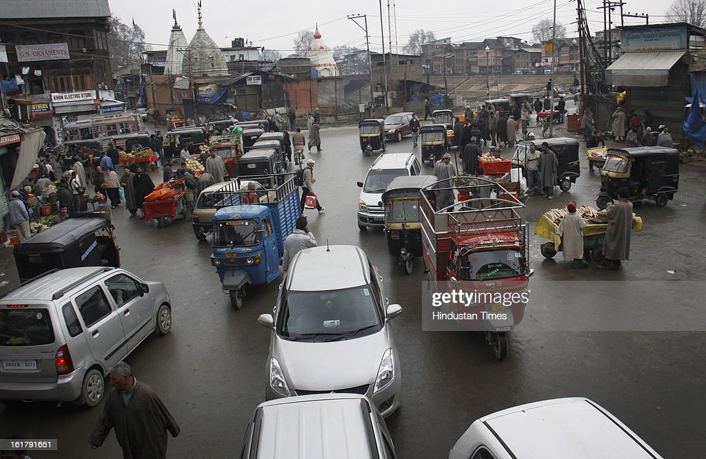 Traffic resumed today after 7 days long curfew was lifted, on February 16, 2013 in Srinagar, India.The week-long restrictions have been removed though security forces would continue to monitor the situation as a separatist group has called for a strike for another two days.