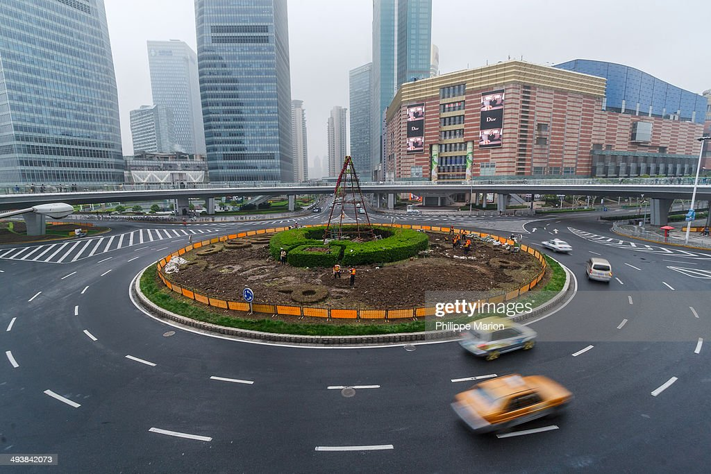 A traffic roundabout in Pudong, Shanghai