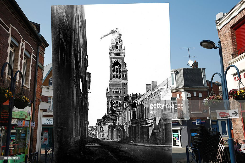 In this composite image a comparison has been made of Basilica of Notre-Dame de Brebieres. Commemorations of The First World War Centenary begin in 2014 and will last until 2018. Traffic runs from Basilica of Notre-Dame de Brebieres on March 13, 2014 in Albert, France. A number of events will be held this year to commemorate the centenary of the start of World War One. view of the basilica with tiltd statue of the Virgin because of a shell in 1915