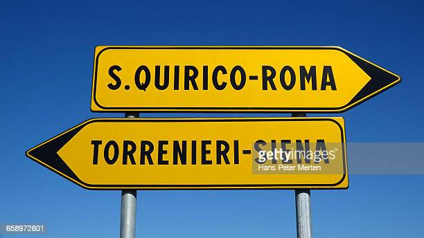traffic sign near San Quirico d'Orcia