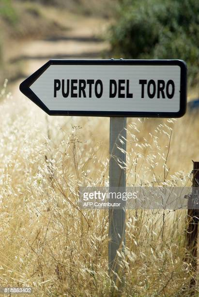 A traffic sign shows the name of 'Puerto del Toro' estate where the former head of Spanish bank Caja Madrid Miguel Blesa was found dead on July 19...