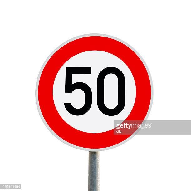 Sinal de trânsito-limite de velocidade de 50 km/h