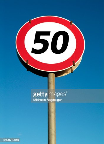 Traffic sign, speed restriction 50km|h