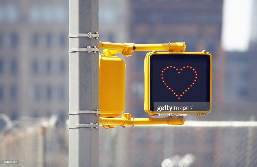 Traffic sign with heart shape : Stock Photo