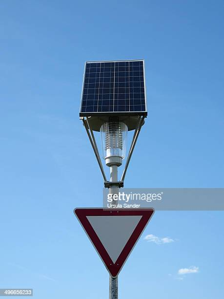 Traffic sign with solar lamp