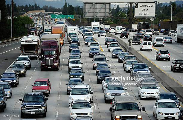 Traffic stacks up on the west and eastbound lanes of the 210 Foothill Freeway near Los Angeles as Thanksgiving holiday travelers hit the freeways on...
