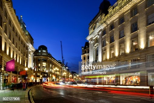 Traffic trails at Regent street at twilight