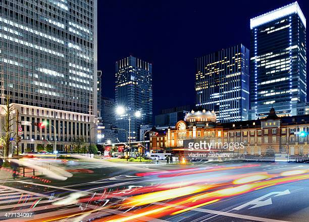 Traffic trails in Marunouchi district of Tokyo