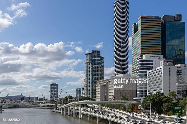 Traffic Travelling Past the Brisbane, Australia, CBD