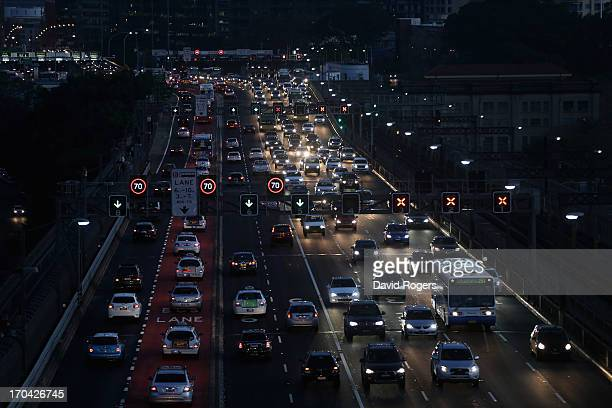 Traffic travels along the approaches to the Sydney Harbour Bridge on June 13 2013 in Sydney Australia