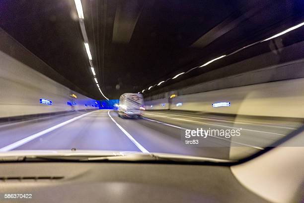 Traffic tunnel at night