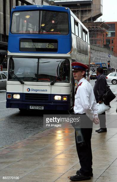 Traffic wardens keeping an eye on bus movements in central Manchester today as the wardens have been ordered to fine buses that wait at stops for...