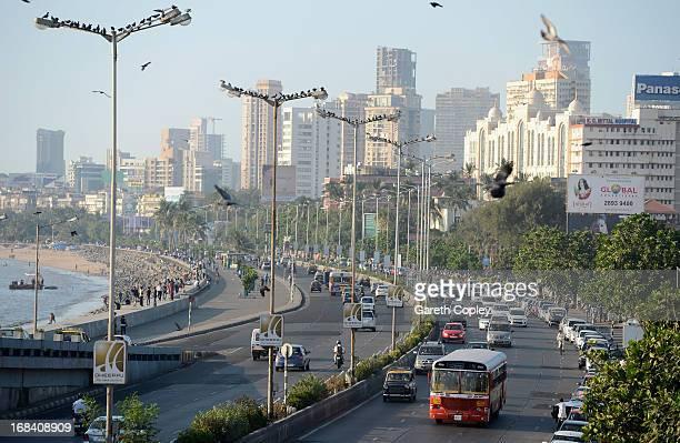 Traffic ways it's way down Marine Drive on November 23 2012 in Mumbai India
