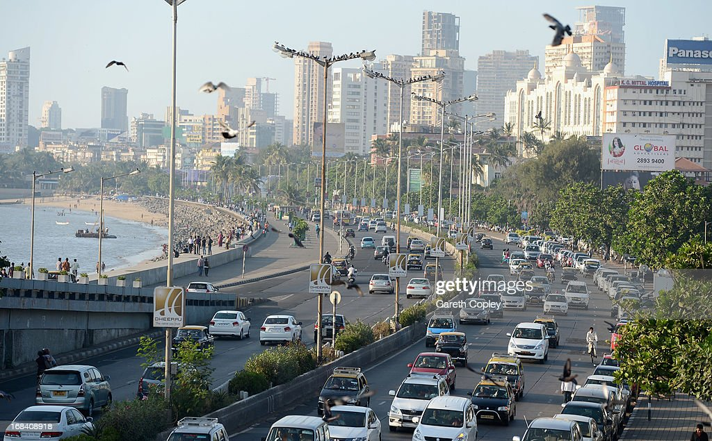 Traffic ways its way down Marine Drive on November 23 2012 in Mumbai India