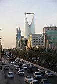 Traffic with Kingdom tower in the background, Riyadh, Saudi Arabia