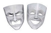 Comedy and tragedy rotesque masks. 3D rendered image.