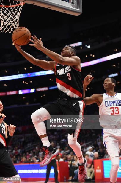 Trail Blazers CJ McCollum goes up for a shot during an NBA preseason game between the Portland Trail Blazers and the Los Angeles Clippers on October...