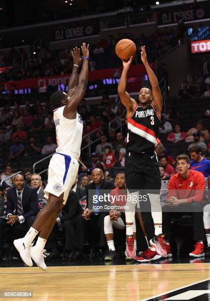 Trail Blazers CJ McCollum shoots a three pointer during an NBA preseason game between the Portland Trail Blazers and the Los Angeles Clippers on...