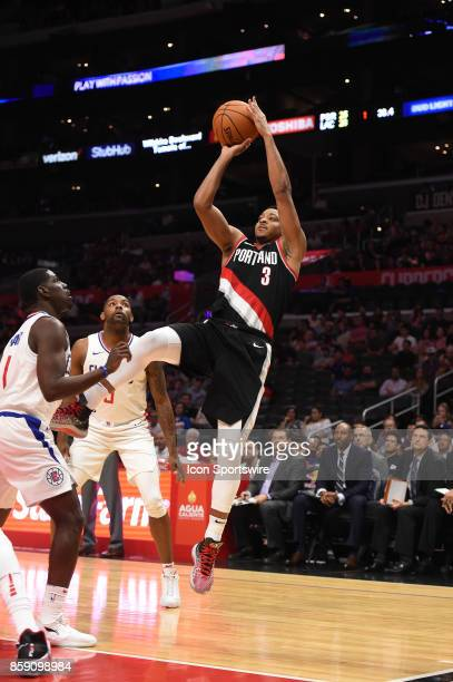 Trail Blazers CJ McCollum takes an off balance shot during an NBA preseason game between the Portland Trail Blazers and the Los Angeles Clippers on...