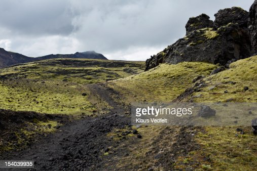 Trail in rocky landscape in Landmannalaugar : Stock Photo