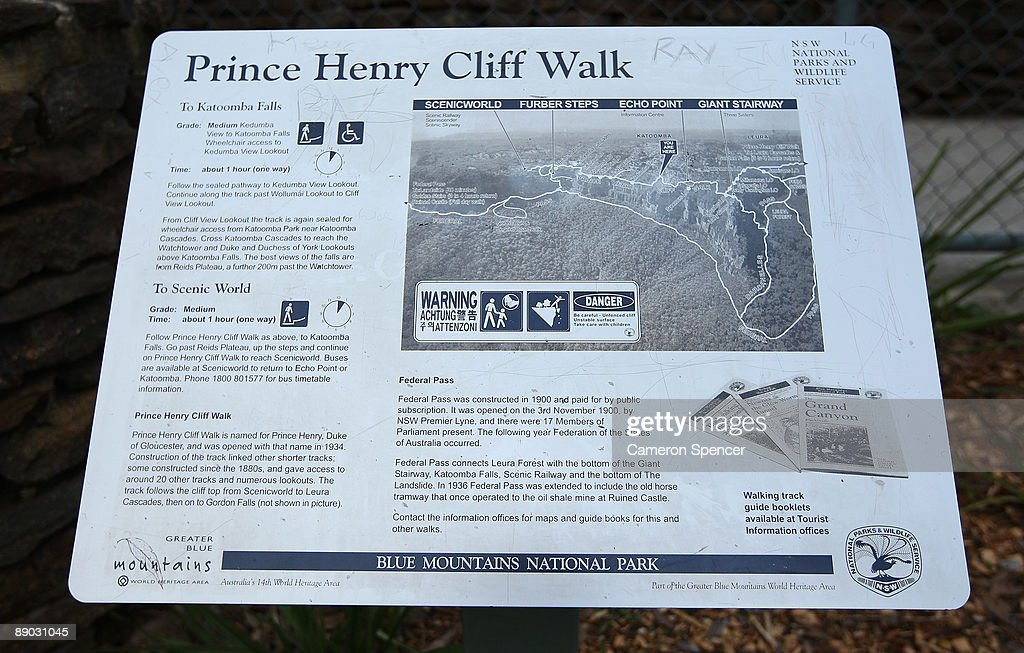 A trail map and infromation is displayed on a sign at Echo Point on July 15, 2009 in Katoomba, Australia. Missing British backpacker Jamie Neale was found earlier today after surviving 12 days lost in the Blue Mountains near Katoomba suffering from only dehydration and exposure.