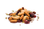 A handful of trail mix isolated on white.