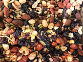 Trail mix in container up close