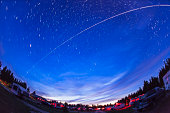 Trail of the International Space Station as it passes over a campground in Canada.