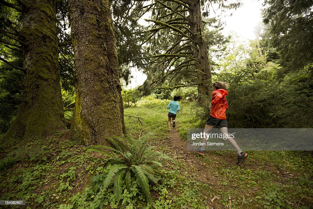 Trail running in Oregon.