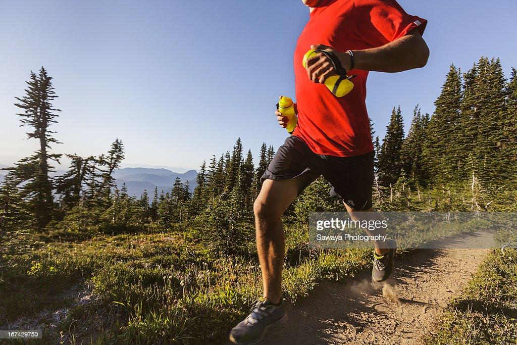 Trail running in the North Cascades : Foto de stock