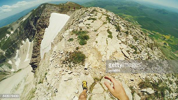 Trail running on the mountain POV