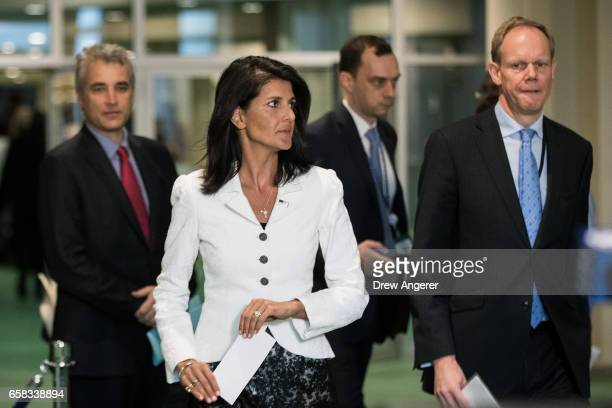 Trailed by by French Deputy Representative to the United Nations Alexis Lamek and British Representative to the United Nations Matthew Rycroft US...