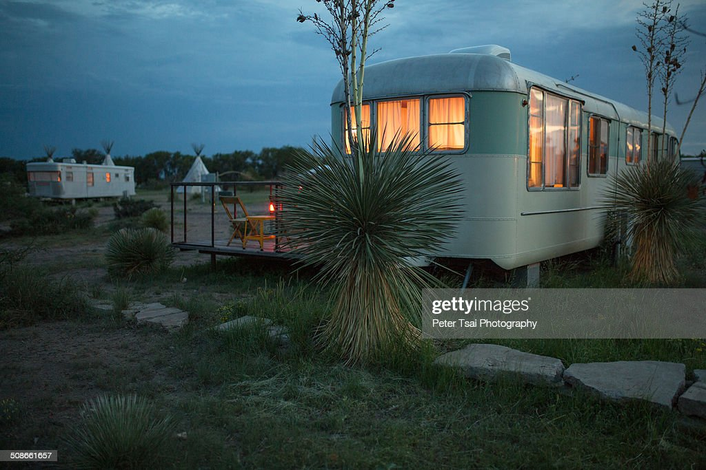 Trailer and teepee camping at night at The El Cosmico campground in Marfa, Texas in 2014