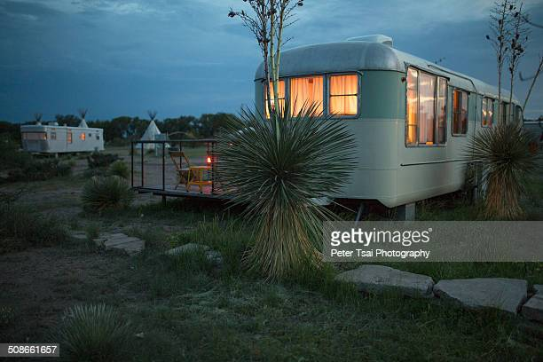 Trailer and teepee camping at night at The El Cosmico campground in Marfa Texas in 2014