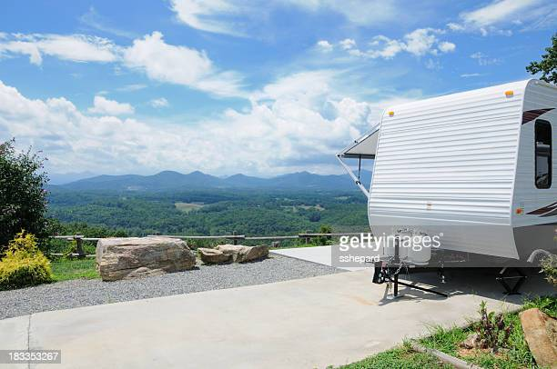 RV trailer in scenic mountain top campground