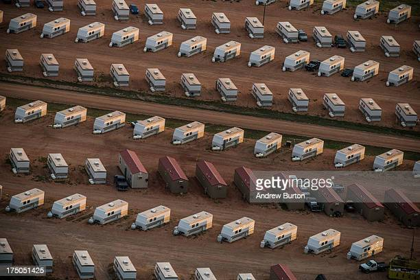 A trailer park occupied mostly by oil workers is seen in an aerial view in the early morning hours of July 30 2013 near Watford City North Dakota...