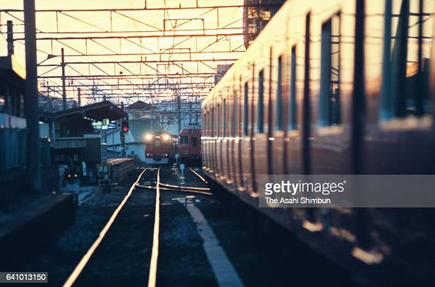 A train approaches to a platform of the Nagoya Railroad Co Owari Seto Station on January 25 1998 in Seto Aichi Japan