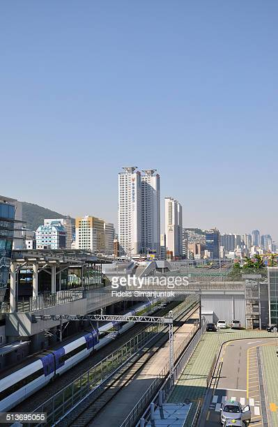 KTX train arrive at Busan station, South Korea