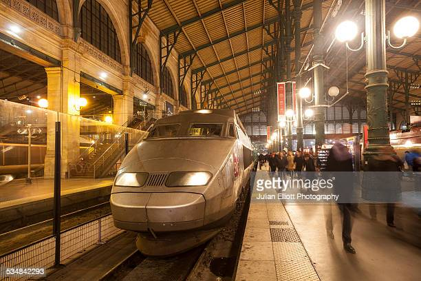 A TGV train arrives at Gare du Nord in Paris