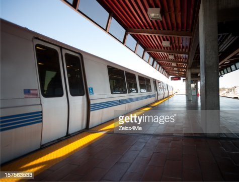 BART train arrives at station