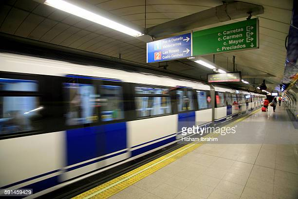Train at a subway station, Madrid, Spain