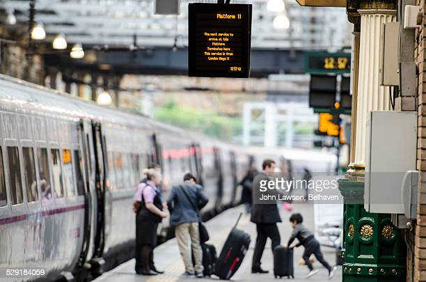 Train at a UK train station platform