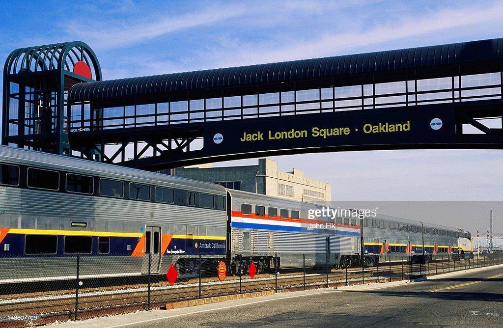 Train at Amtrak Station, Jack London Square sign.