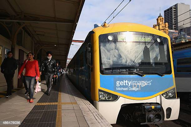 A train at Flinders Street Station is left fully empty as commuters leave shortly before Train Union workers start their strike on September 4 2015...