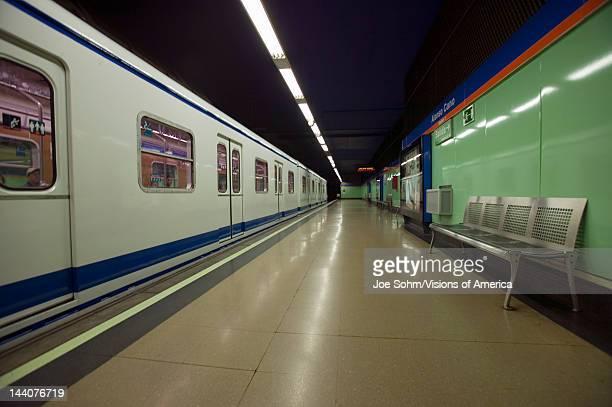 Train at Metro subway train station in Madrid Spain