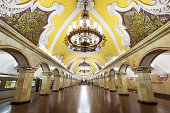 Metro station Komsomolskaya is a great monument of the Soviet era.